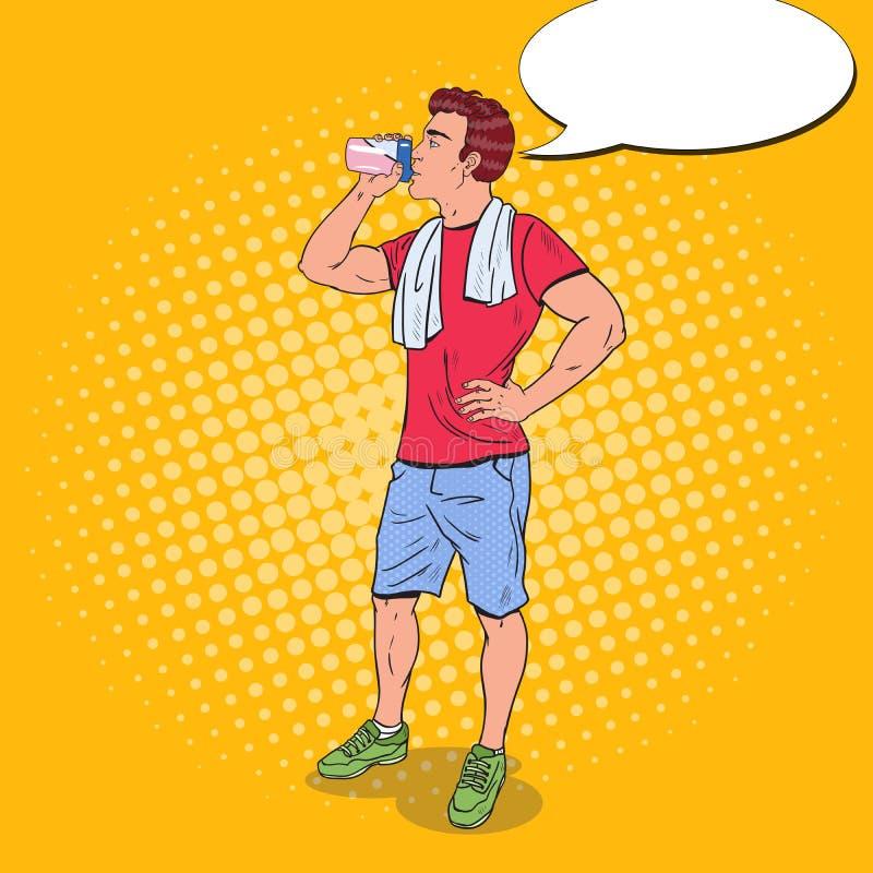 Sacudida de Art Young Man Drinking Protein del estallido Suplementos de la nutrición stock de ilustración