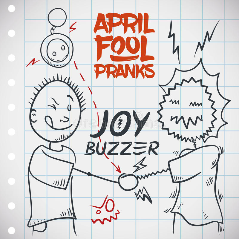 Sacudida de electrificación de la mano con Joy Buzzer para día de April Fools ', ejemplo del vector ilustración del vector