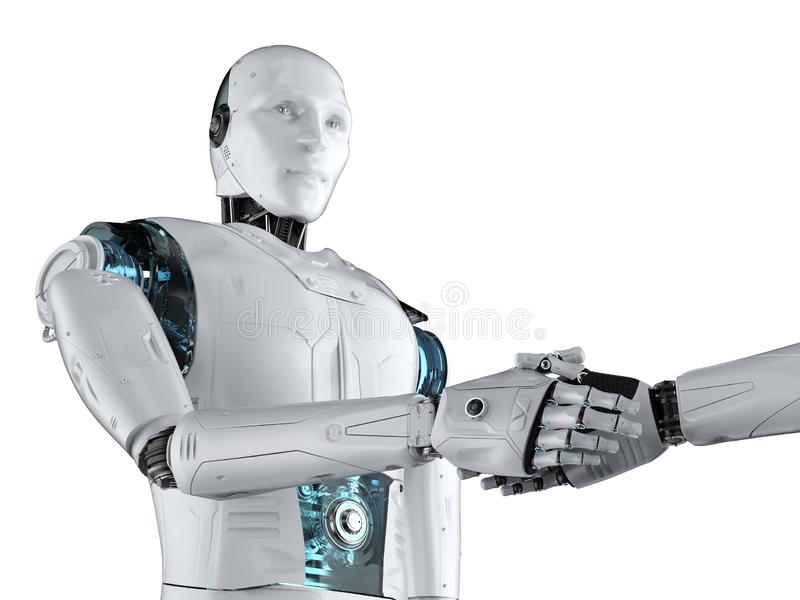 Sacudida de la mano del robot ilustración del vector