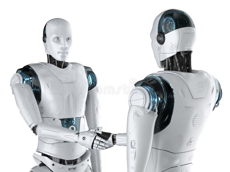 Sacudida de la mano del robot stock de ilustración