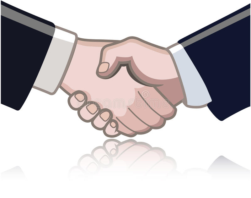Sacudida de la mano entre dos personas stock de ilustración