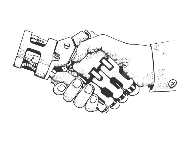 Sacudida de las manos del ser humano y del robot del negocio Estructura futura de la conexión del concepto Ciencia exhausta del e stock de ilustración