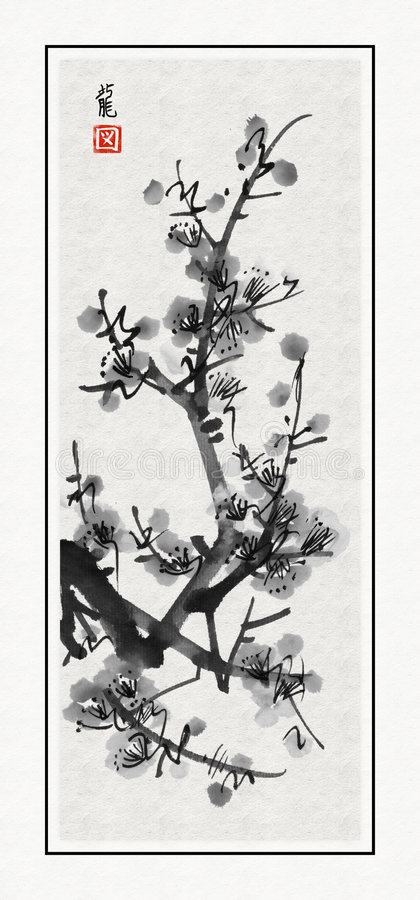 Sacura de Sumi-e libre illustration