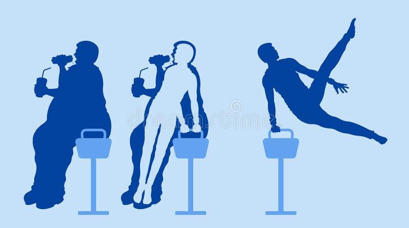 Sadła i schudnięcie mężczyzny sylwetki gubją ciężar z ćwiczyć na pommel koniu ilustracji