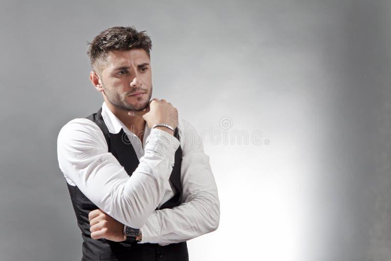 Sad. Pensive sad man thingking and reflecting on life problems royalty free stock photos