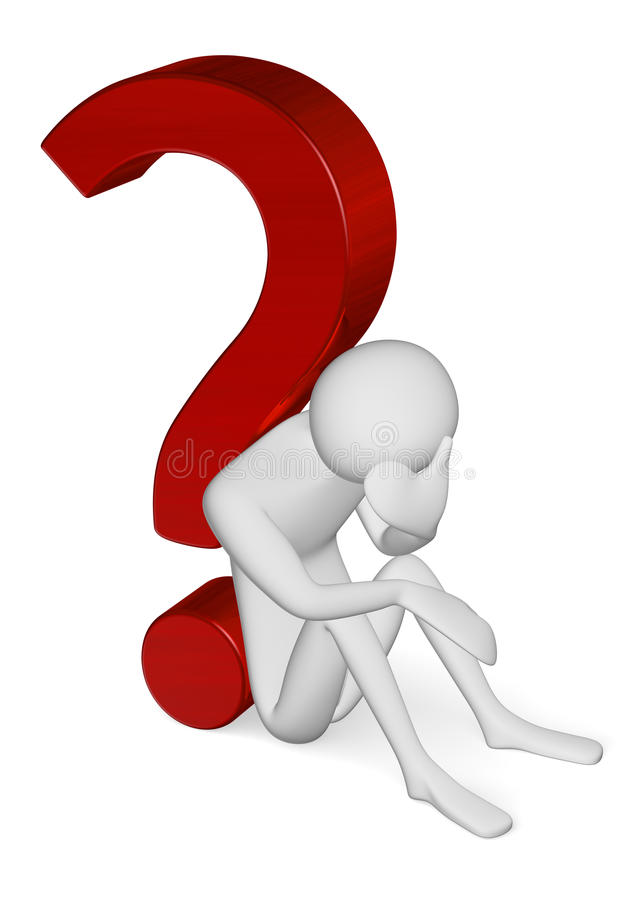 Free Sad 3d Man Sitting Leaning Against Question Mark Stock Photography - 38852422