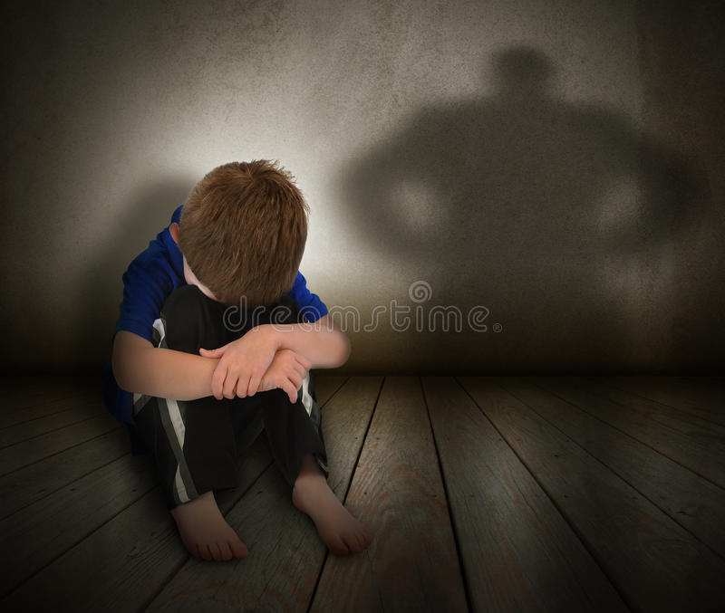 Download Sad Abused Boy With Anger Shadow Stock Photo - Image: 27300626