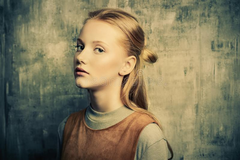 Sad adolescent girl royalty free stock photo