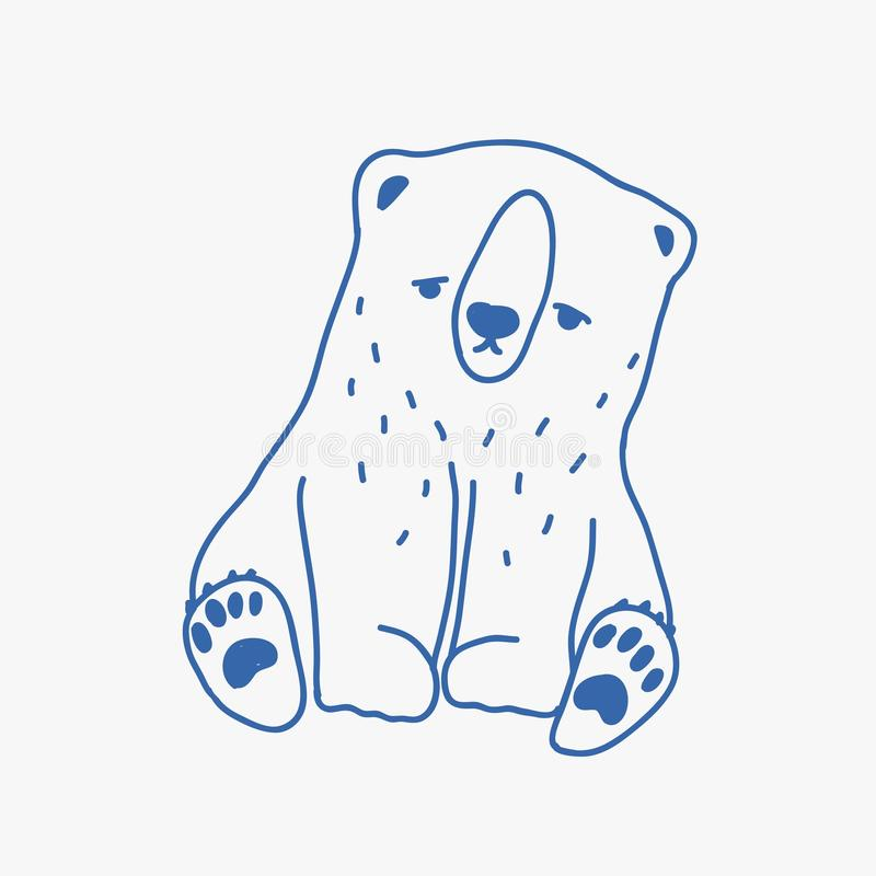 Sad adorable baby polar bear hand drawn with blue contour lines. Cute drawing of unhappy lonely cartoon little Arctic stock illustration