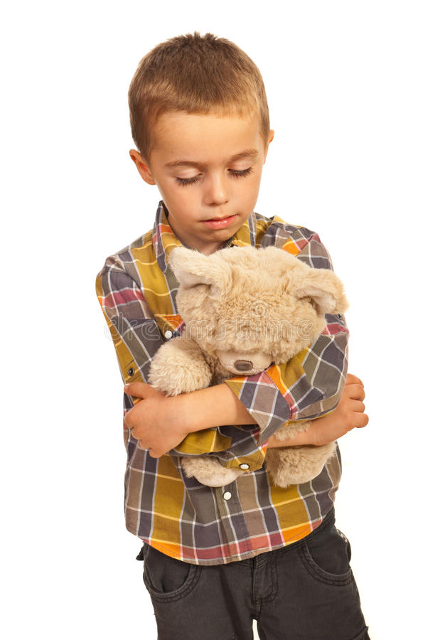 Sad Alone Boy With Teddy Bear Royalty Free Stock Photos