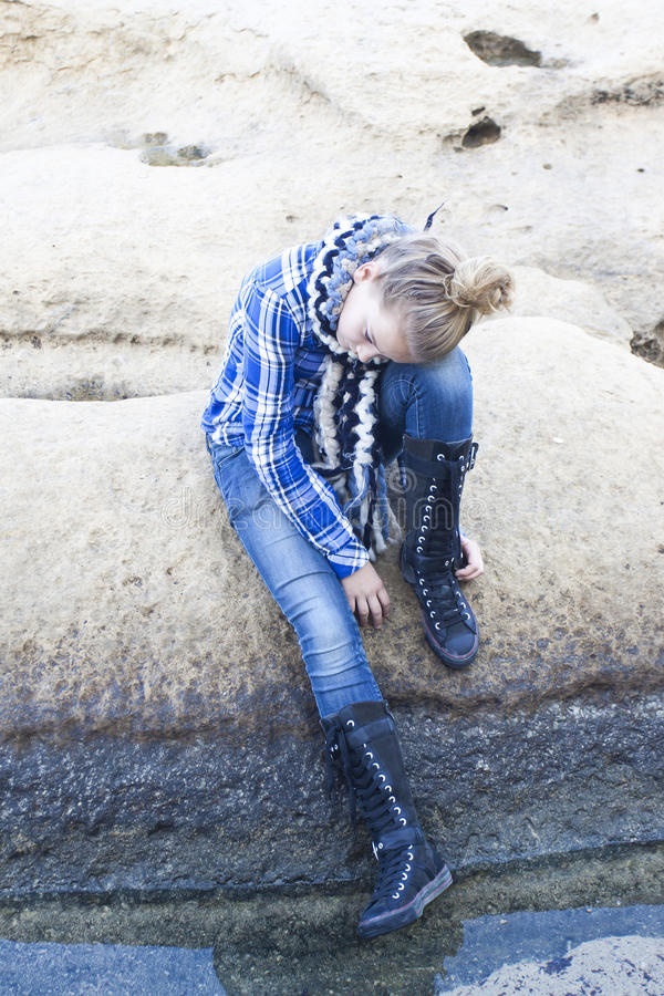 Sad alone confused teenager stock images