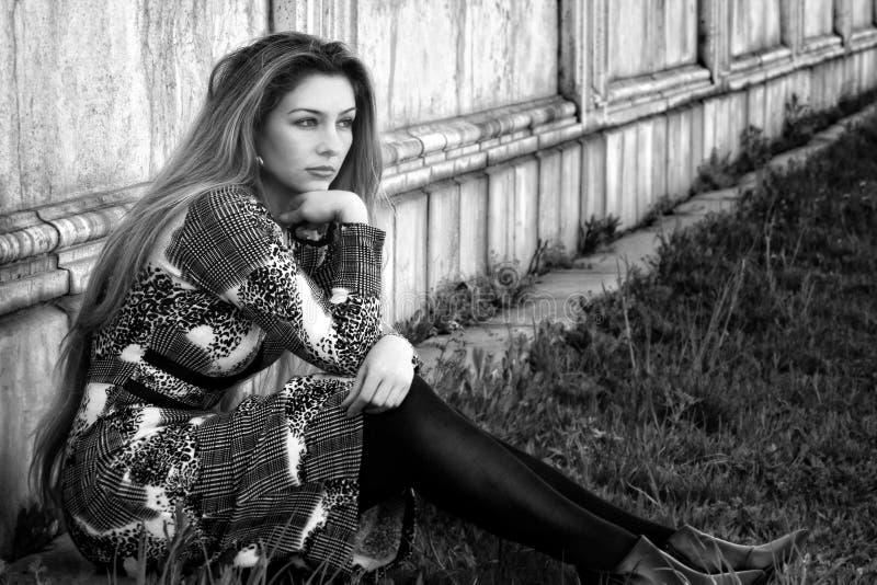 Sad alone pensive woman outdoor stock photos