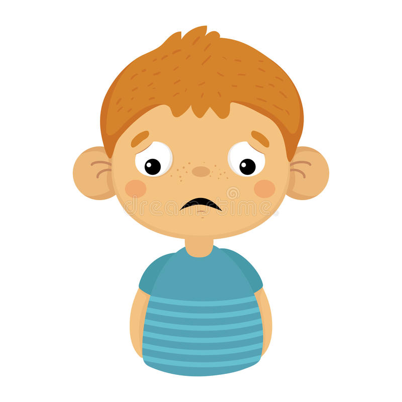 Free Sad And Disappointed Cute Small Boy With Big Ears In Blue T-shirt, Emoji Portrait Of A Male Child With Emotional Facial Stock Photo - 87665340