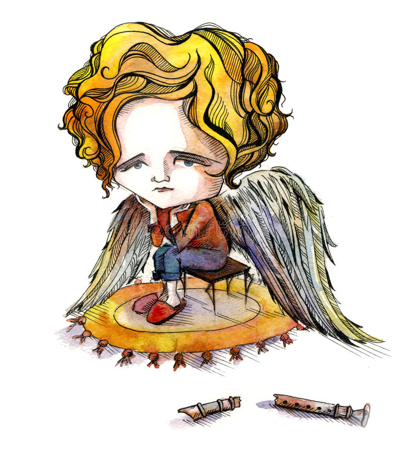 Sad angel. With broken flute (Wvs painting vector illustration
