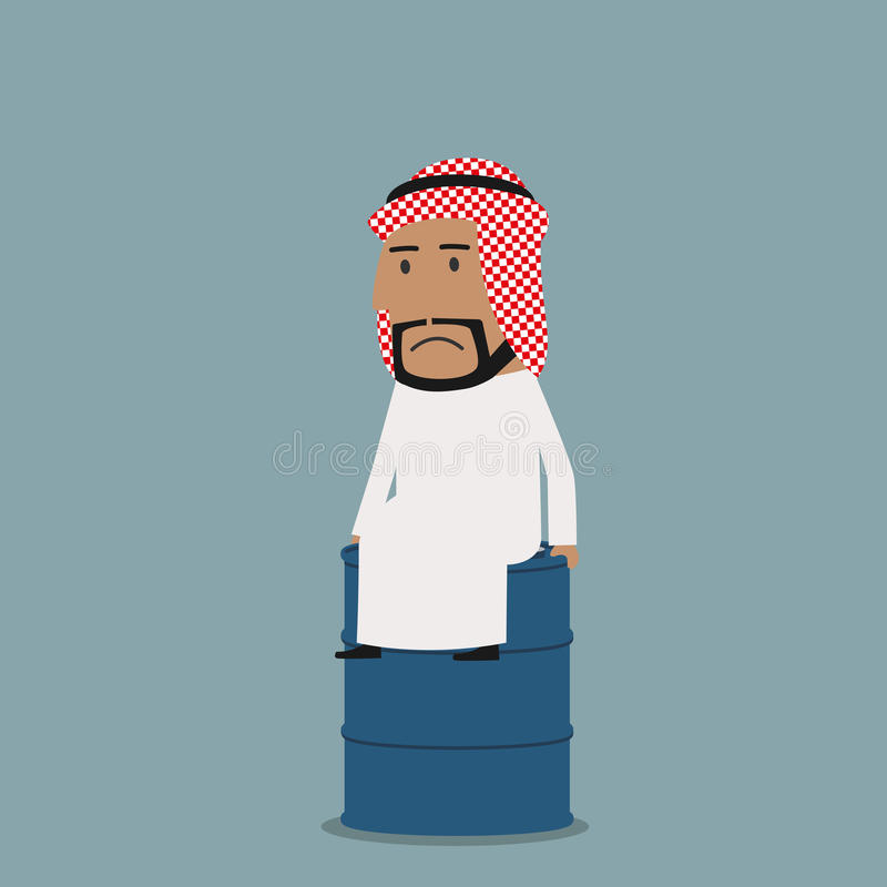 Sad arabian businessman on the oil tank. Frustrated arabian businessman sitting on the oil tank. Business concept of crisis on oil market, fuel pricing vector illustration