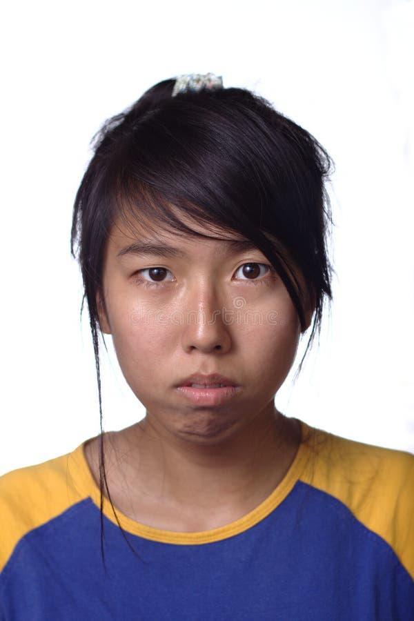 Sad asian female teenager stock photos