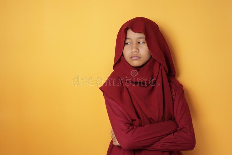 Sad Asian Teenage Muslim Girl Looking Down stock images