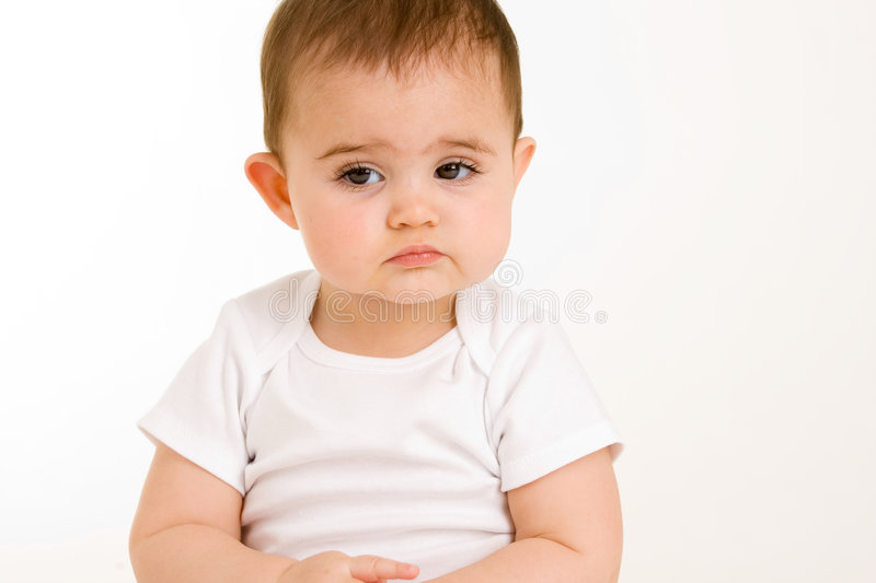 Download Sad baby stock image. Image of shirt, white, curious, baby - 4975241
