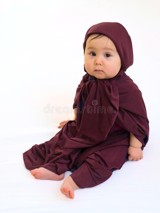 Download Sad Baby Girl In Muslim Dress Stock Image - Image: 13680577