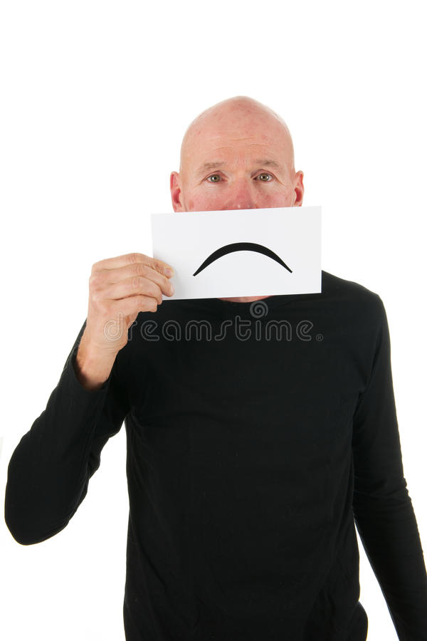 Download Sad bald man with smiley stock image. Image of expressing - 27819695