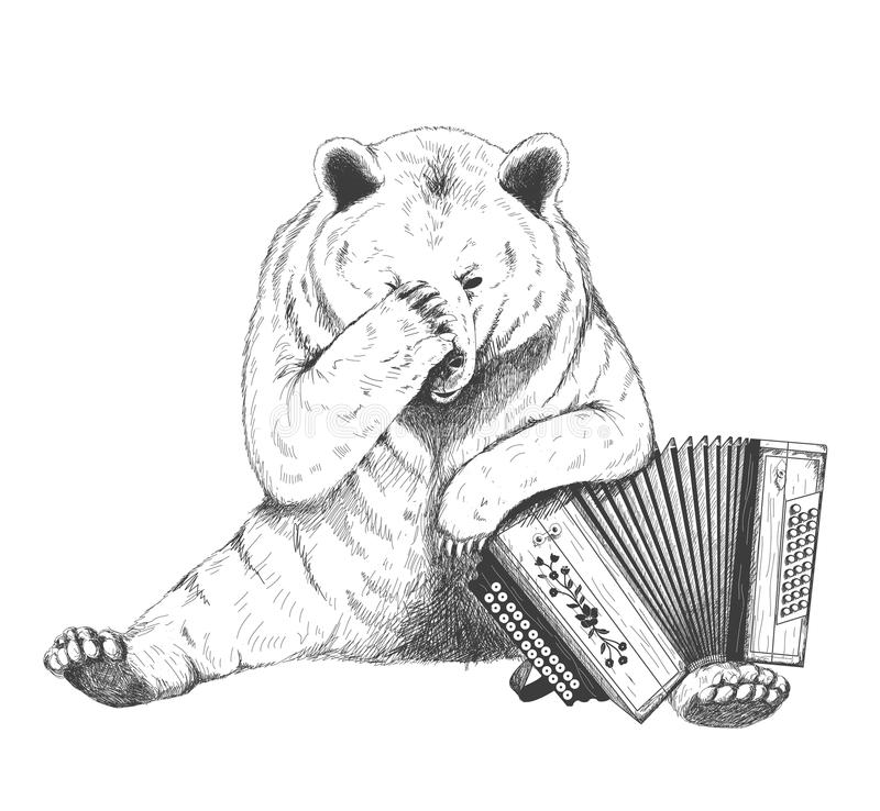 Sad bear sits with an accordion. Sketch. Handmade royalty free illustration