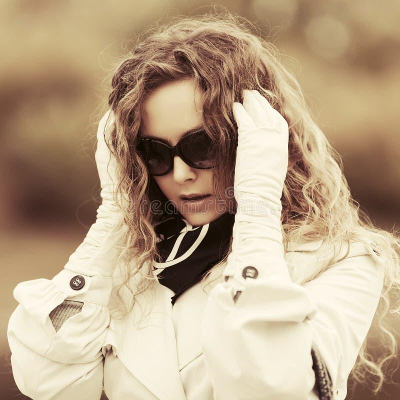Sad beautiful fashion woman in despair stock photo