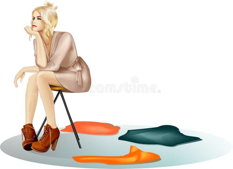 Sad beautiful girl have nothing to wear royalty free illustration