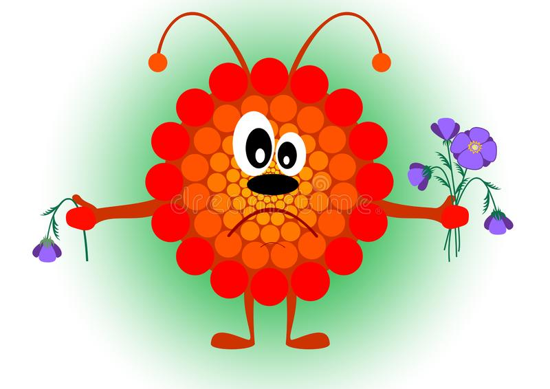 Sad bee holding flowers in their hands vector illustration
