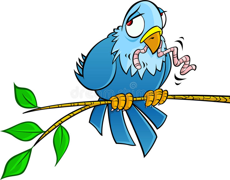 Download Sad bird on a branch stock vector. Image of looking, landed - 14339695