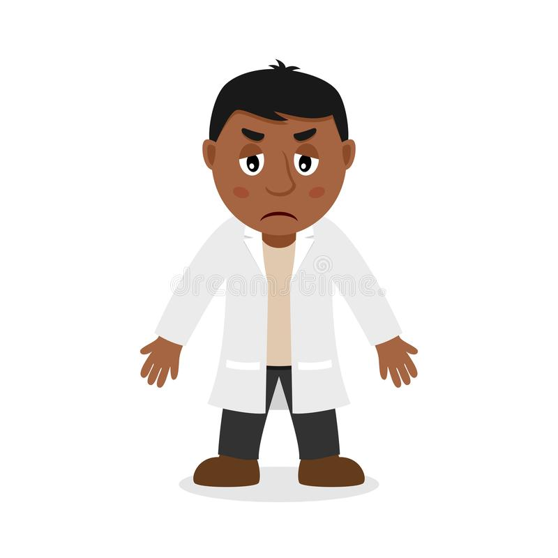 Sad Black Male Doctor Cartoon Character. Isolated on white background. Please check my portfolio for ten versions of the same character with different royalty free illustration