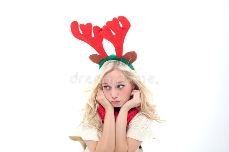 Download Sad blond woman with horns stock photo. Image of antlers - 27179098