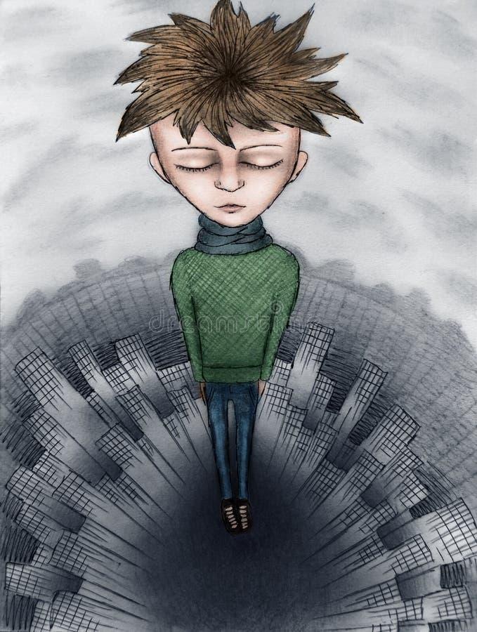 Sad boy. Bright soul flies over the city of monochrome