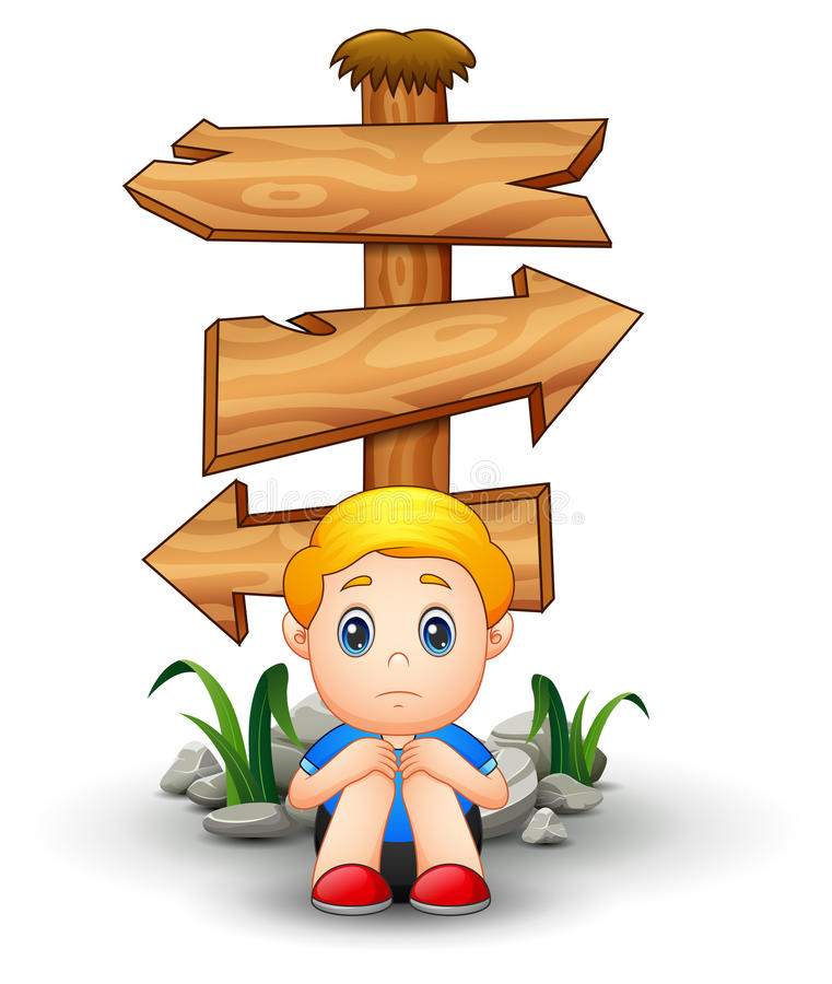 Sad boy cartoon sitting under blank wood arrow sign stock illustration