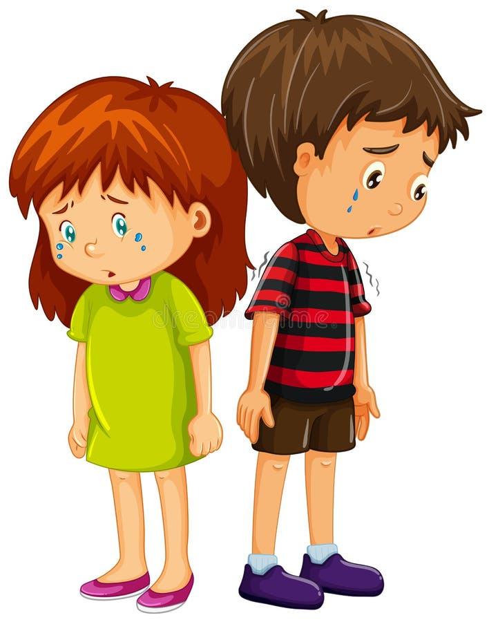 Sad boy and girl crying vector illustration