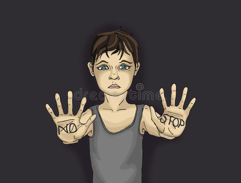 Sad boy, hand signals to stop the violence and pain. Drawn on a dark background. The hands of written word. Portrait of a frightened child. Pop art style vector illustration