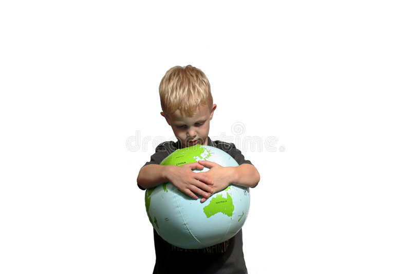 Sad boy hugging World royalty free stock image