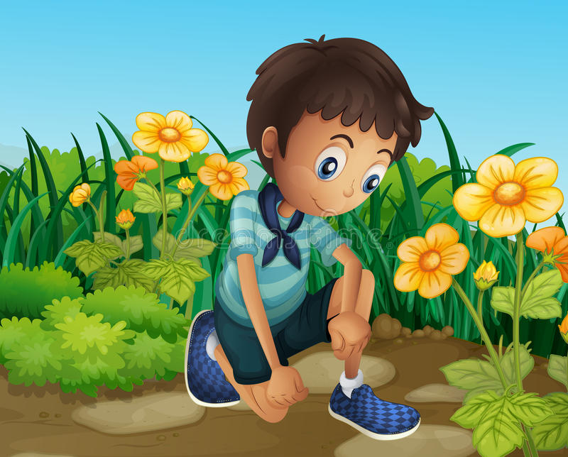 A sad boy near the blooming flowers vector illustration