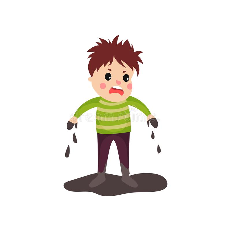 Sad boy in soiled clothes and dirty hands standing in mud puddle. Sad boy in soiled clothes with disheveled hair and dirty hands standing in mud puddle. Bad kid stock illustration