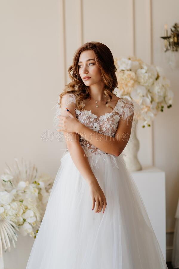 Free Sad Bride In Wedding Dress Nervous About Ceremony Royalty Free Stock Photo - 192173825