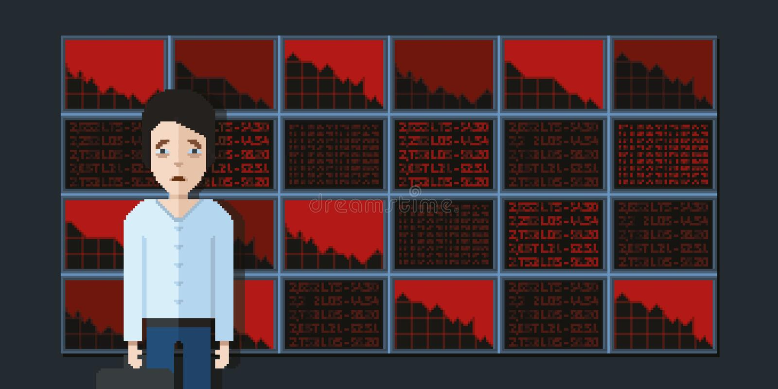 Sad broker on stock exchange background, pixel art video game style illustration royalty free stock photography