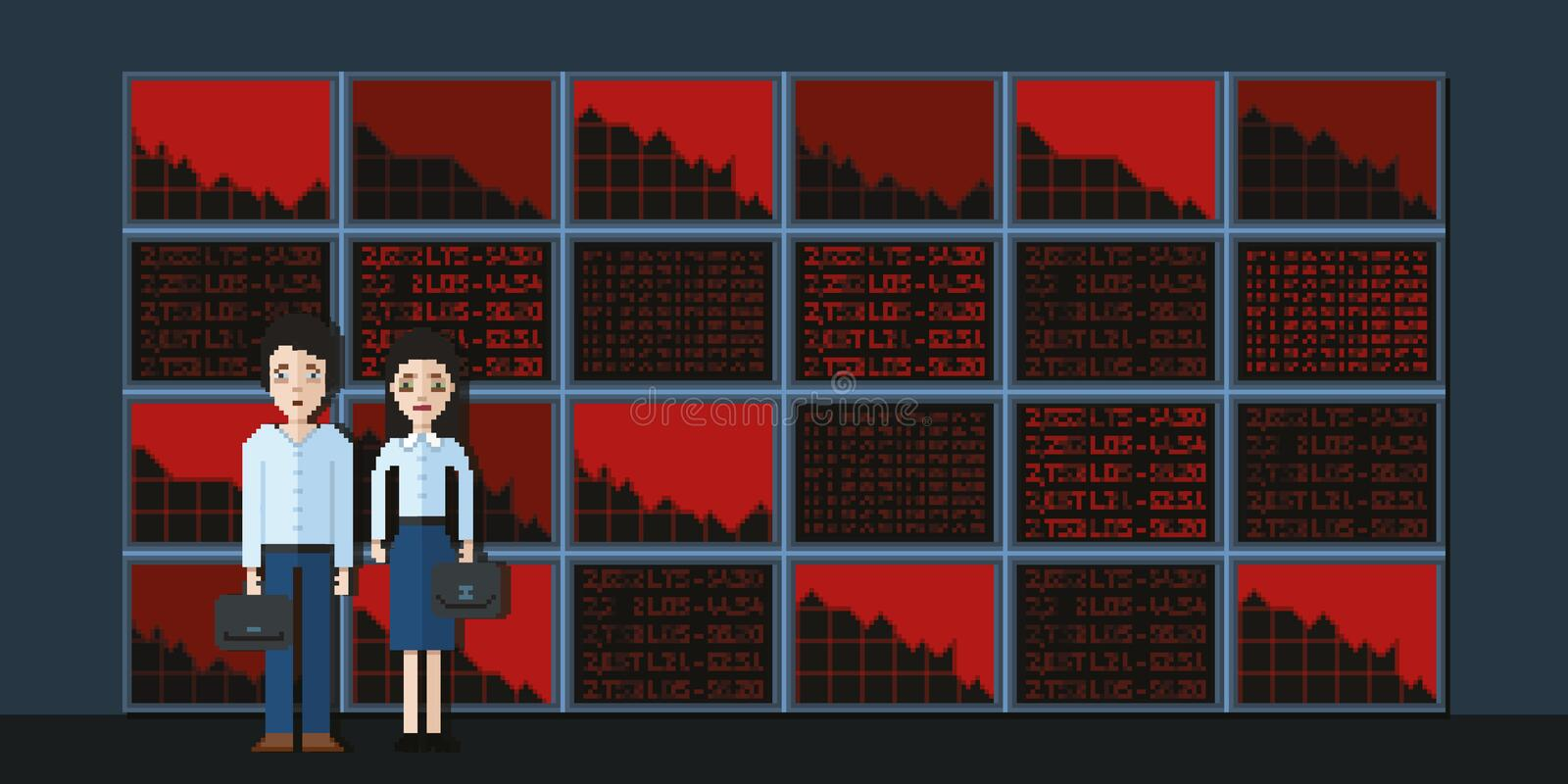 Sad brokers on the background of screens and declines on the stock market stock photography