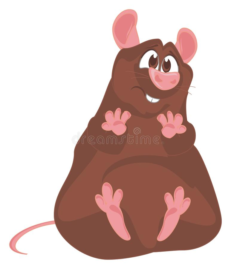 Sad brown rat vector illustration