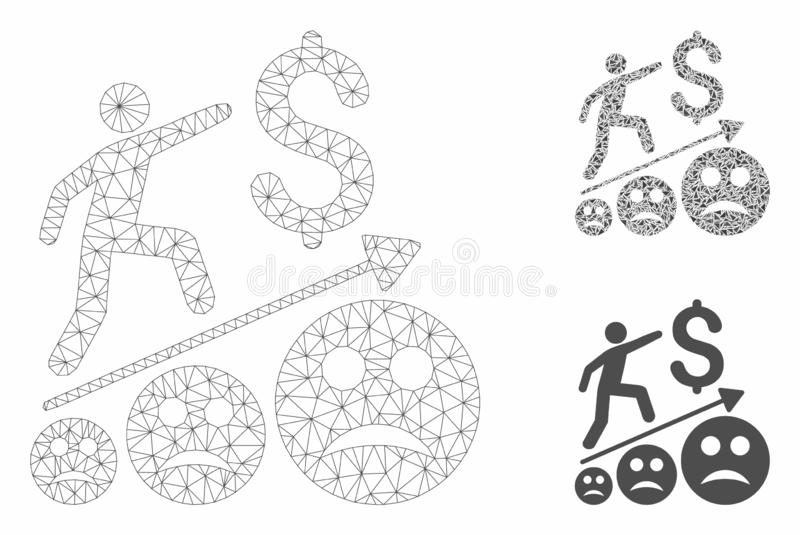 Sad Business Growth Vector Mesh Wire Frame Model and Triangle Mosaic Icon vector illustration