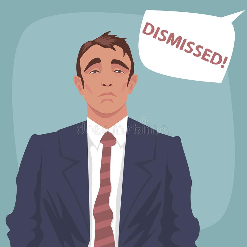 Sad business man with bubble Dismissed vector illustration