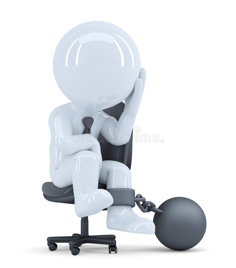 Sad business man chained to his chair. Business concept. Isolated. Contains clipping path royalty free illustration