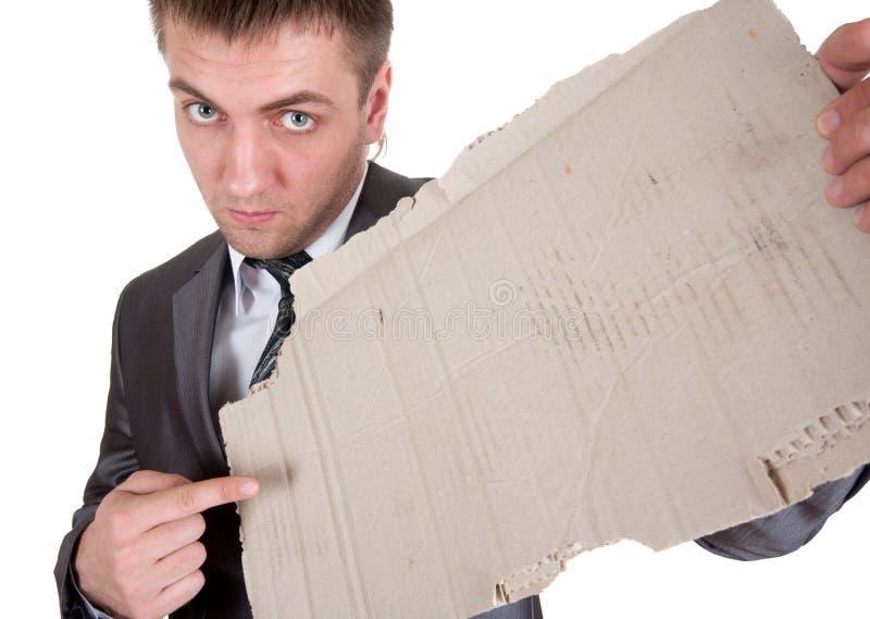 Download Sad Businessman With Cardboard Frame Stock Image - Image: 19036891