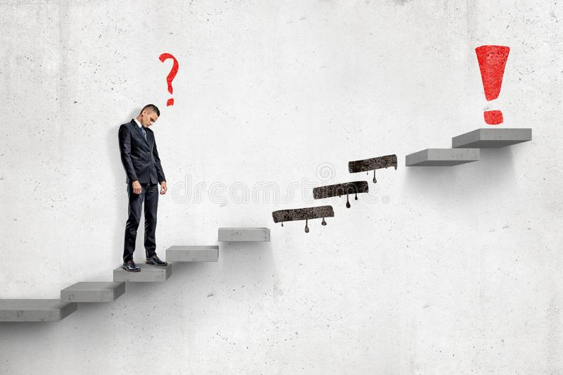 Sad businessman with red cartoon question mark standing on ladder to red exclamation mark with several steps missing on vector illustration