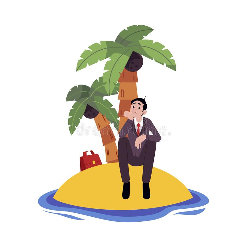 Sad businessman sitting alone on island surrounded by water cartoon style. Vector illustration isolated on white background. Frustrated male with business stock illustration