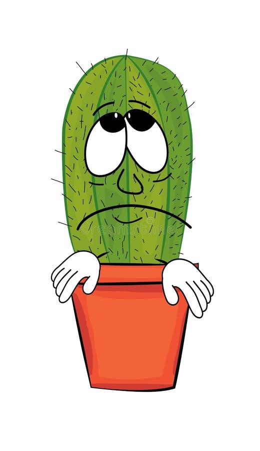 Sad Cactus cartoon. Vector illustration of sad cactus cartoon royalty free illustration
