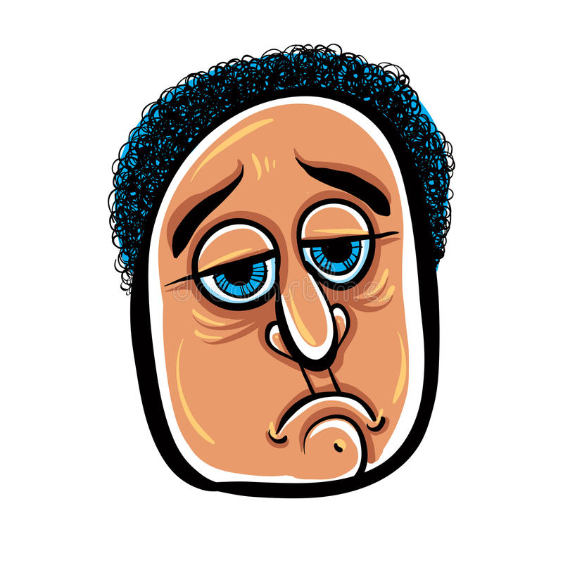 Sad Cartoon Face, Vector Illustration. Stock Vector ...